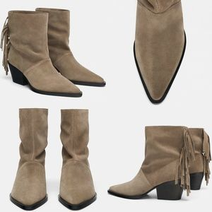 ZARA SOFT LEATHER ANKLE COWBOY BOOTS WITH FRINGE